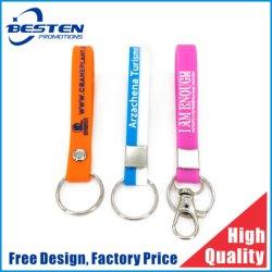 Logotipo personalizado colorido barato pulseira de Silicone Chaveiro bracelete de Silicone Keyring
