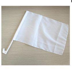 Poliéster duradero en blanco blanco liso coche personalizado con el poste de plástico de la bandera de la ventana