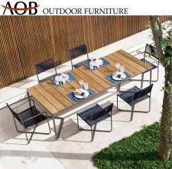 La mobilia personalizzata del giardino di svago imposta la corda del ristorante tessuta pranzando la presidenza con la Tabella del teck