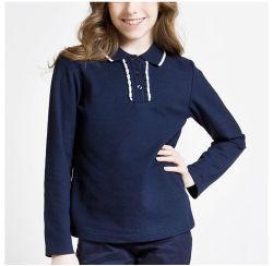 Женщин новый дизайн длинной втулки школьной рубашки поло