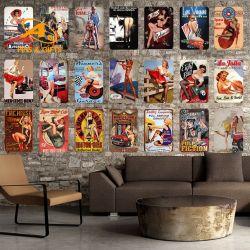중국 도매 주문 빈티지 레트로 페인팅 틴사인 바 장식 인쇄 로고가 있는 양각 메탈 원벽 장식
