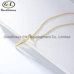 مطلية باللون الأصفر 925 قلادة ورقة فضية من الدلاية النساء مجوهرات الموضة