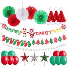 Feliz Navidad Banner fiesta de Navidad decoración suministros Hat estrellas Garland Bunting abanicos de papel de árbol de Navidad panal.