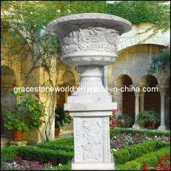 石によって切り分けられる植木鉢、大理石の庭プランター、壷(GS-FL-003)