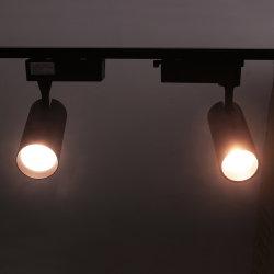 La voie la lumière15W 20W 30W Voie Rail LED spotlight Lampe de projecteur COB noir et blanc de suivi de variable de direction de la lumière avec 3 ans de garantie