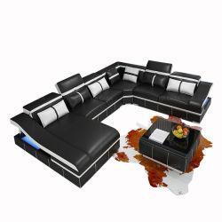 黒いLEDの革ソファーが付いているDivansofforの家具