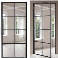 Fabricante de China la puerta principal de la ventana de la parrilla de acero de hierro forjado de diseño de doble puerta de entrada