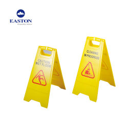 Gelbes nasses Fußboden-Plastikzeichen