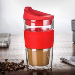 12oz 350мл двойные стенки стекла боросиликатного поездки кружки кофе чашку с силиконом крышки багажника и втулки