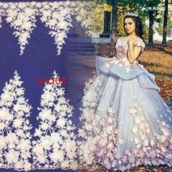 Perla exquisita de flores en 3D con reborde de encaje vestidos de novia vestido de novia encaje aplique en 3D.