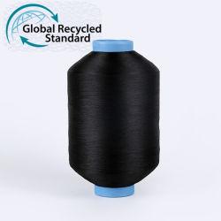 Precio de Venta caliente droga teñido negro 75 75D 36f de poliéster con textura DTY Semi aburrido torcer el hilo de la etiqueta tejida