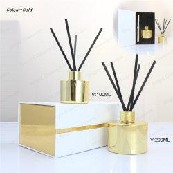 100ml 200ml Diffuseur d'or bouteille en verre avec boîte cadeau de luxe