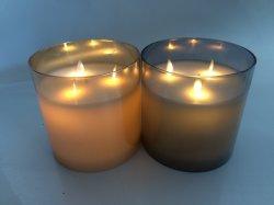 D15X15CMH IÕES DE VIDRO LAMINADO levou a luz de velas W/Movendo Wick