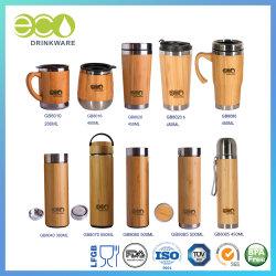 Kop van het Bamboe van de Mokken van de Koffie van het Bamboe van de Fles van het Roestvrij staal van de Tuimelschakelaar van het Bamboe van GB8060 500ml China de In het groot Vacuüm