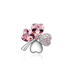 La moda de joyería de plata con broche en forma de corazón Rosa Estrás