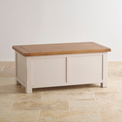 Pintado de blanco de estilo rústico de madera maciza de roble Manta Caja de almacenamiento