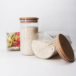 Latas de cozinha de vidro com tampa de vidro Quadrado de bambu hermético para Copo com tampa de bambu