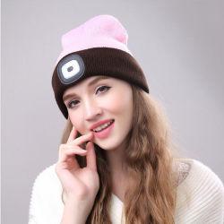 Аккумулятор USB СВЕТОДИОДНЫЙ ИНДИКАТОР 100% полиакрила Beanies зимой Kintted Red Hat лампа
