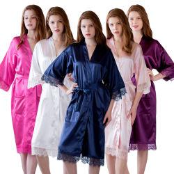 Nouvelles de la soie de haute qualité peignoir Cardigan Pyjama à manchon long peignoir de bain