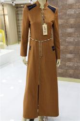 أصفر [أبا] [أوتور] كم طويلة عرضيّ مع حزام سير تركيا إسلاميّة ثوب مسلم نساء طبقة