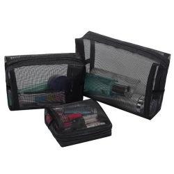 Groothandel Fashion Black Travel Beauty Makeup Kits Mesh Pouch Cosmetic Set zakken
