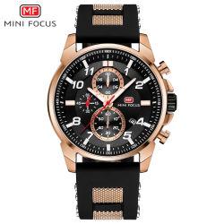 Mini-focus de la bande de silicium hommes montre-bracelet de quartz avec cadran noir