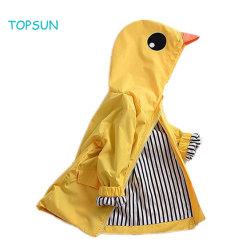 Kleinkind-Baby-Mädchen-Gelb-Ente-Regenmantel scherzt nette Kleid-Karikatur Hoodie Reißverschluss-Mantel-Ausstattungs-Umhüllung