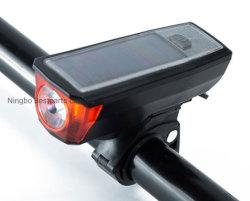 Luz de bicicletas Solar, 2 em 1 LED Recarregável Aluguer de luz da frente com a buzina, 1,5 W de alta potência à prova de sabugo, 100lm