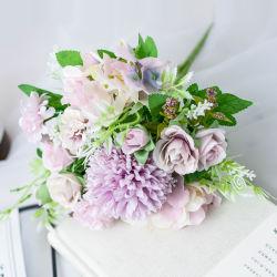 Blue bouquet flores artificiais Roses Seda Hortência Decoração Bouquet os cravos de plástico realista Centerpieces flores para a tabela