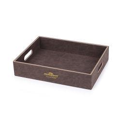 يحجز [فوإكس] جلد فندق خف صينيّة صندوق مع مقابض لأنّ فندق إمداد تموين