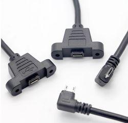 El tornillo de montaje en panel de datos de Micro-USB Cable de extensión de cable de sincronización de datos