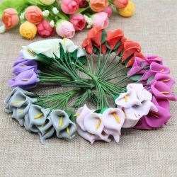 Calla artificial Caja de regalo Caja de caramelos de Flor de la tarjeta de bricolaje decoración flor artificial