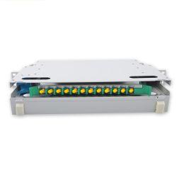 SPCC物質的な薄い灰色カラー1u 12ポートSt 12fの十分に付ラックマウントの光学端子盤