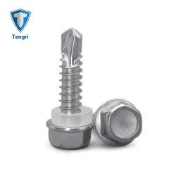 DIN7504K SS 410 perforaciones de cabeza hexagonal tornillos con rosca del tornillo de rosca con collar
