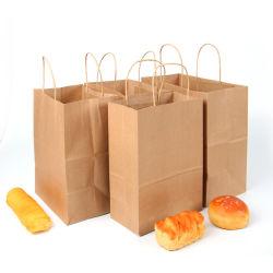 Plaine sortir le sac de papier Kraft la corde tordue de gros de la taille de personnels personnalisés