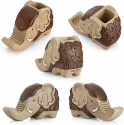L'elefante ha modellato la decorazione dell'organizzatore dello scrittorio del basamento del telefono delle cellule del contenitore della penna per la decorazione della casa della scrivania