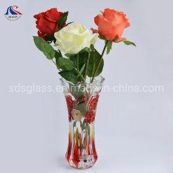 도매 투명한 장식적인 유일한 디자인 빨간 꽃 유리 화병