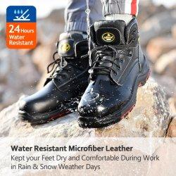 CE-goedgekeurde werkveiligheidslaarzen met stalen teen voor mannen en vrouwen Prijs EVA, echt leer oliebestendig antistatische werklaarzen Fabrikanten voor industrieel werk