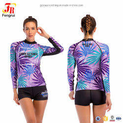 As mulheres roupas impresso populares rash guard e shorts Surf Prensa
