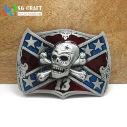 Cabeça de cranio Cor Níquel personalizados com caixa de travamento de cinto de segurança Rhinestone Design de moda para homem
