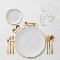 [وهيت غلد بلت] بسيطة, [رووند ستك] غربيّ طعام لوحة, حزب زخرفة, بيضاء خزف لوحة, عال عظمة خزف لوحة