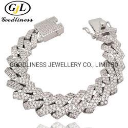 Heiße Verkaufs-gute Qualitätsform-Schmucksachen 925 überzog silbernes Mann-Armband-Gold CZ-Hiphop