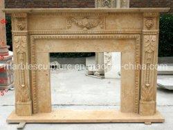 Startseite Dekoration Beige Stein Mantel geschnitzten Marmor Kamin (SYMF-248)