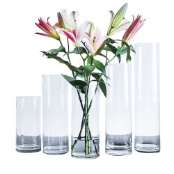 ديكور حفلات الزفاف مطعم طابق الطاولة زجاج شفاف ذو أسطوانة زهرة طويلة مزهريات