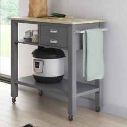 2小さい引出しが付いているホーム基本的な3層の純木の上の灰色の圧延の台所カート