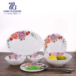 Abendessen-Set des flache Platten-Aktien-Teller-Tafelgeschirr-Glasessgeschirr-gesetztes weißes Opalglasware-Abendessen-Set-26PCS