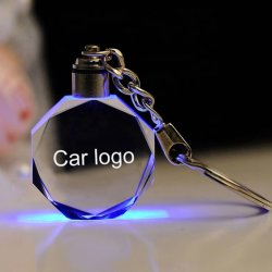 관례 3D Laser 조각 LED 차 로고 수정같은 열쇠 고리