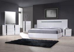 최신 디자인, 현대적인 백색 고광택 침실 가구, 세트 킹 퀸사이즈 침대