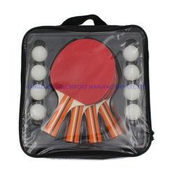 La racchetta di vendita calda di ping-pong del giocatore di legno 4 dell'OEM ha impostato con il sacchetto di trasporto