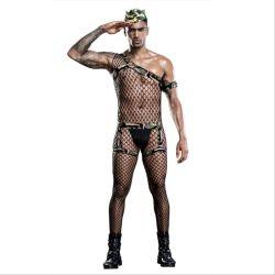 Mannelijke Sexy Lingerie Nightclub Net Camouflage Uniform Set kostuums